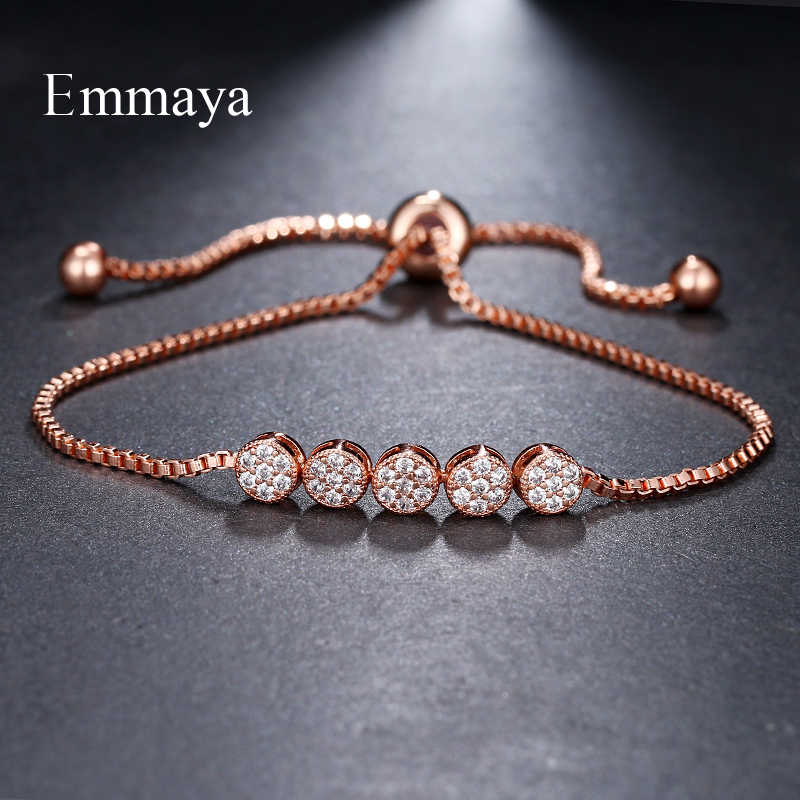 Emmaya מותג מדהים יוקרה אופנה שלושה צבעים מתכוונן קריסטל זירקון חמש עגול צמידי עבור אישה אלגנטיות חתונה מתנה