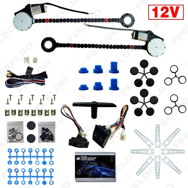 DC12V Auto Universal 2-Doors Electric Power Window Kits with 3pcs/Set Switches and Harness #FD-4420