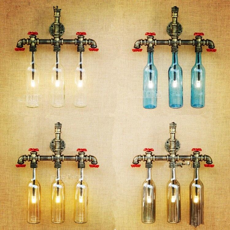 American Retro Loft Style Industrial Wall <font><b>Light</b></font> Vintage Arandela Glass <font><b>Bottle</b></font> Water Pipe Lamp Wall Sconce Appliques <font><b>LED</b></font>