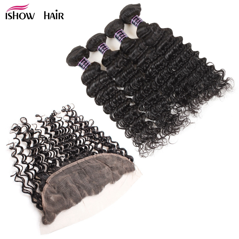 Ishow Pre-Colored Peruvian Deep Wave Human Hair Bundles With Lace Frontal Closure Non Re ...