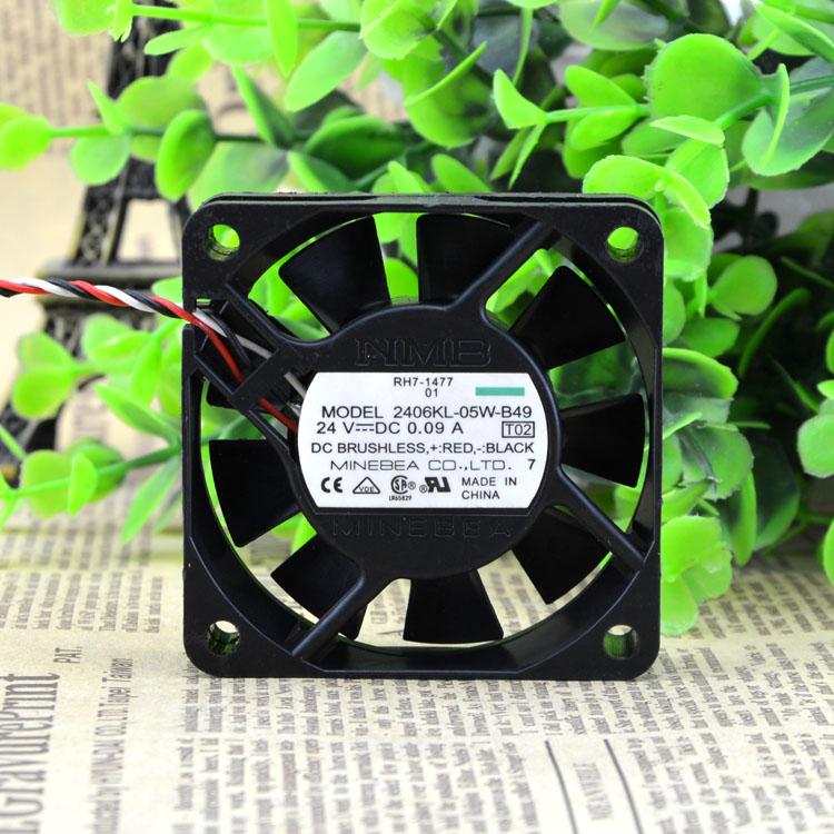 Бесплатная Доставка Для NMB 2406KL-05W-B49, DC 24 В 0.09A, 60x60x15 мм 3-проводной 60 мм Сервер Площадь вентилятор охлаждения