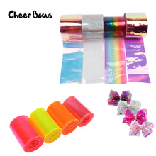 2Y/Bag Transparent Ribbons Rainbow Jelly Ribbon Laser Fabric PVC For Bows DIY Home Decorative Handmade Crafts Material