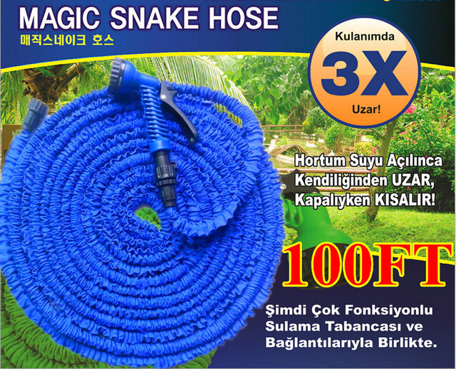 Free Shipping 100FT Water Pipe Working Lenght 30 meters Retractable Hose Garden Water Hose+Spray Gun Blue and Green Random Hair