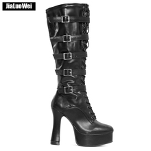 jialuowei Knee-high Boots 12CM High Heel Platform Round Toe Chunky Square Heels Lace-up Zipper Motorcycle Party Dance Boots jialuowei women sexy fashion shoes lace up knee high thin high heel platform thigh high boots pointed stiletto zip leather boots