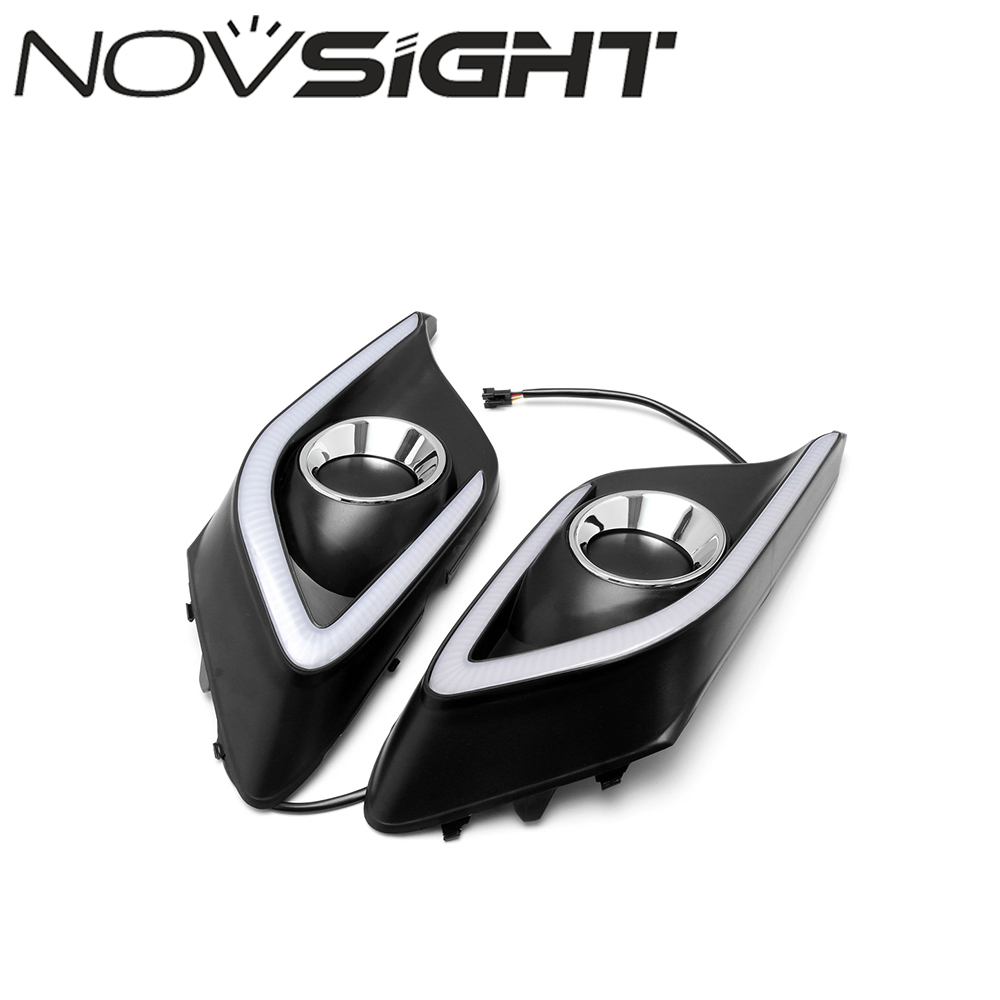 Car LED Fog Daytime Running Lights DRL Yellow Turn Signal Daylight For MAZDA3 AXELA 2014 2015 2016 Free Shipping auto accessory led drl daytime running lights daylight fog light yellow turn signal led fog lamp for volkswagen vw polo 2014 15