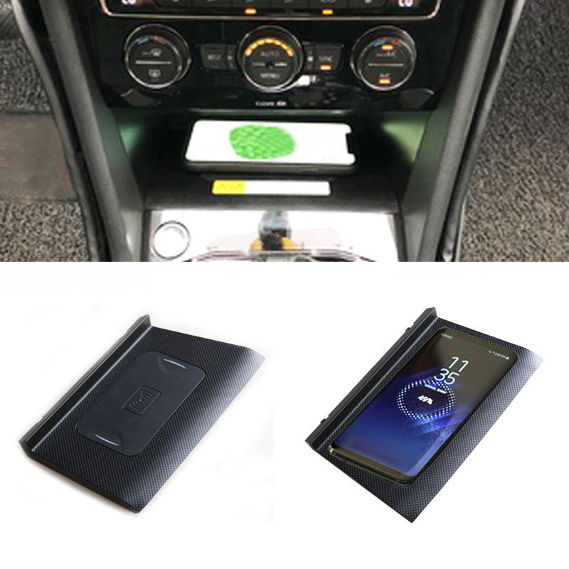 For VW Tiguan car mount QI wireless charger fast charging for iphone X 8 Plus for Samsung with QI wireless charging 2017 2018 k8 qi wireless charging transmitter pad for nokia lumia 820 920 samsung galaxy s3 i9300 note 2