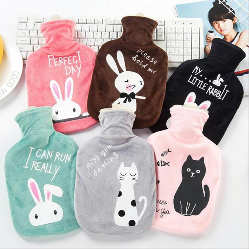 Cartoon Animals Hot Water Bottle Bag Winter Baby Kids Hand Feet Warmer Lovely Girls Hot Water Pocket With Plush Cover 3
