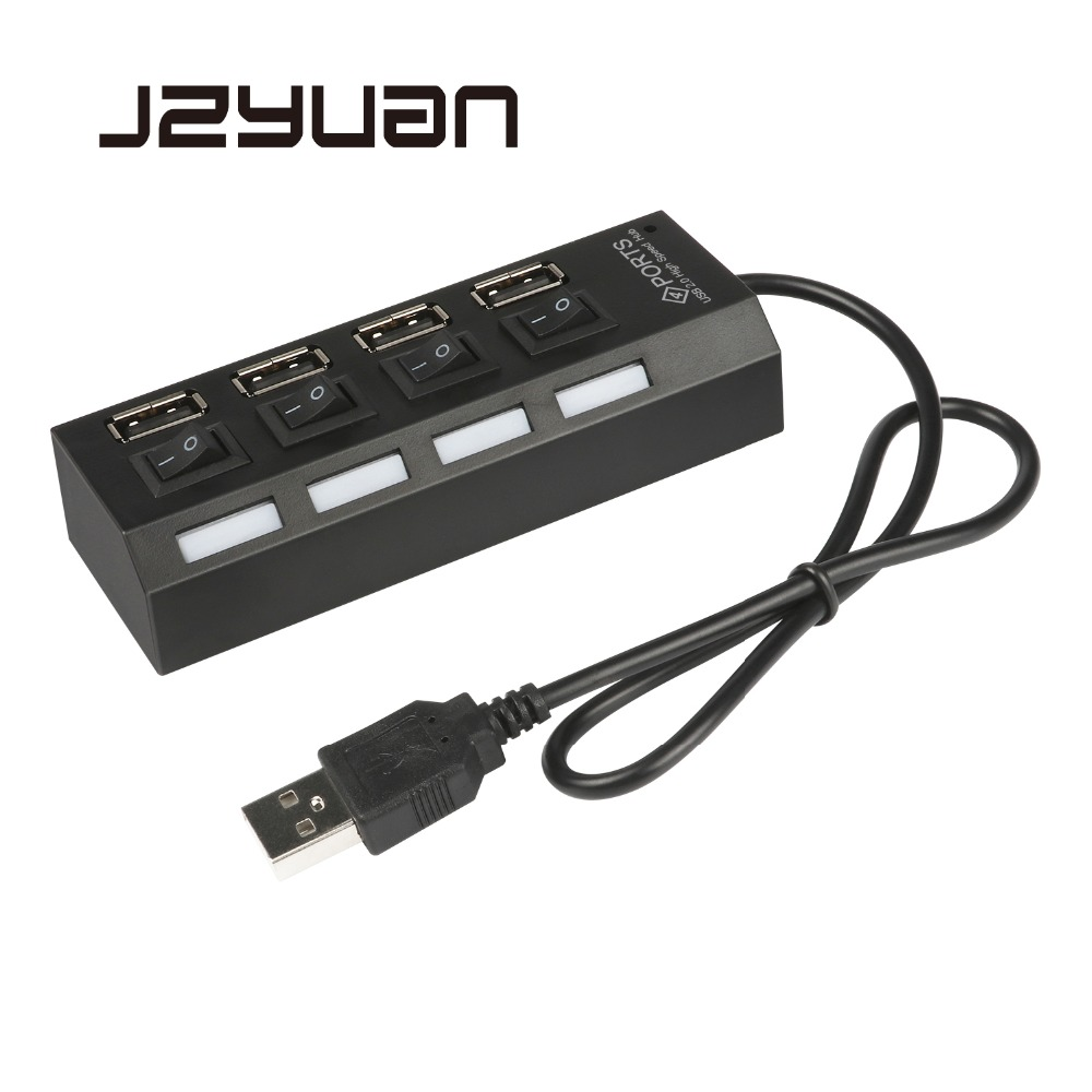 4 Port Micro USB Hub 2.0 USB Splitter High Speed 480Mbps USB 2.0 Hub LED With ON/OFF Switch For Tablet Laptop Computer Notebook high speed usb 2 0 4 port hub w usb otg adaper for smart phone notebook laptop pda black