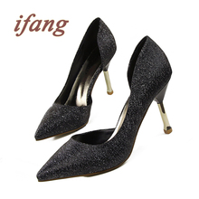 Ifang Summer Shoes Woman Pointed Toe Sexy Women Party Nightclub Shallow Mouth Cut Out Two Piece Thin High Metel Heel Pumps