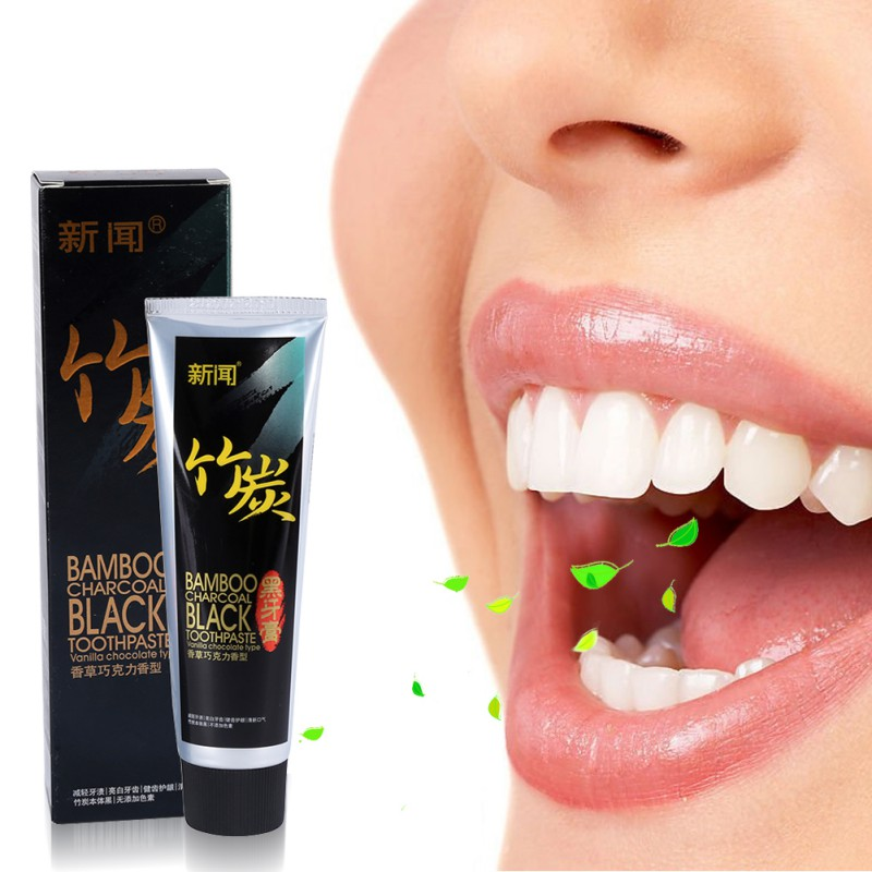 1pcs Bamboo Charcoal Teeth Whitening & Black Adult Toothpaste Scouring Insect-resistant Eat By Moth Vanilla Chocolate Scent