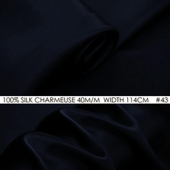 SILK CHARMEUSE SATIN 114cm width 40momme/100%Silk Fabric Meter Heavy Silk 172g/m2 Silk Suit Sewing Material Deep Blue NO 43