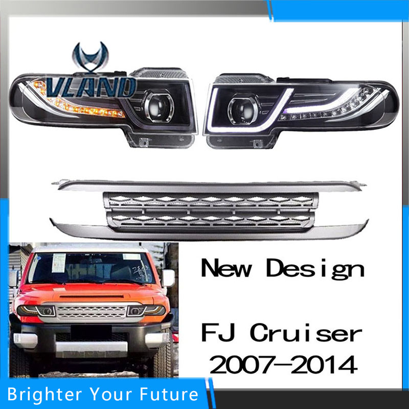 Newest DRL Projector Headlights & Tail Lights & Grille s For Toyota FJ Cruiser 2007-2014 LED Headlight Dual Beam for toyota fj cruiser 2007 13 double