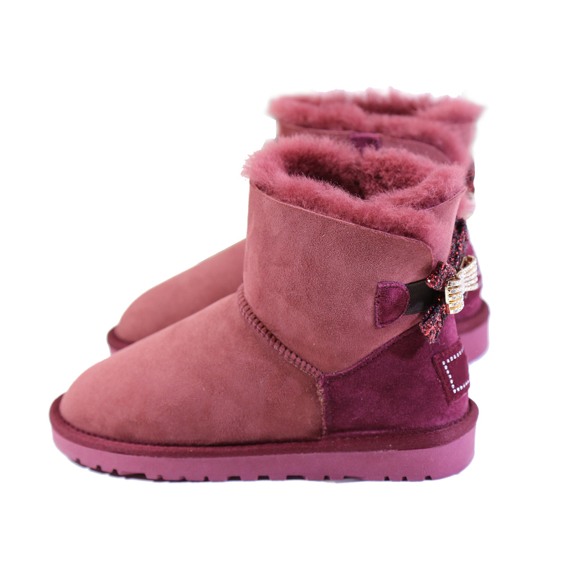 Fur Shearling Winter Woman Snow Boots Mid Calf Slip On Butterfly Knot Boots Warm Flat Non Slip Casual Women Flock Shoes xiaying smile winter women snow boots warm antieskid mid calf boots platform strap slip on flats casual women flock rubber shoes