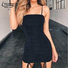 Sling dress sexy pleated decoration Tassel elastic tight banquet nightclub wrap hip 9213