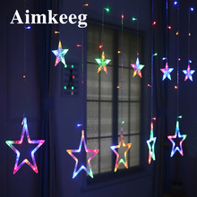 2.5M Christmas LED Lights AC 220V Holiday Lighting LED Romantic Fairy Star Curtain String for Wedding Garland Party Decoration