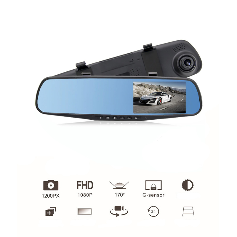 4.3 Inch Car Rearview Mirror Video Monitor Digital Camera BIG Screen Built-In Speaker Cycle Recording HD CCD Lens Car DVR