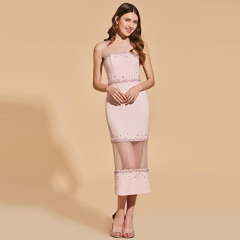Tanpell бисером коктейльное платье розовый жемчуг scoop рукавов чай Длина платье женские вечерние торжественные специально Оболочка коктейльны