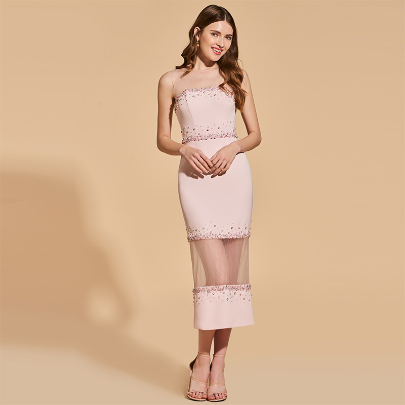 Tanpell beading   cocktail     dress   pearl pink scoop sleeveless tea length gown women party formal customed sheath   cocktail     dresses