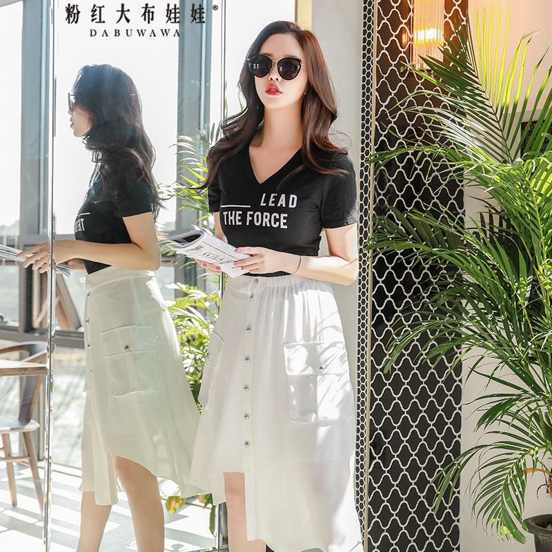 Dabuwawa Women s Elegant Hight Waist Asymmetric Hem Pocket Skirts 2019 New Summer Fashion Black White