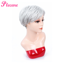 Plecare 3 Color Straight Short Blond Wigs With Bangs Heat Resistant Fiber Synthetic Wig Hair Short Pruiken Wigs for Black Women short straight oblique bang heat resistant fiber wig