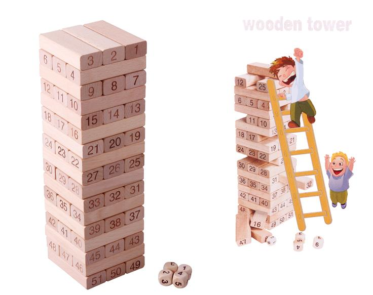 Online Shop Free Shipping Wooden Digital Domino Blocks Toys Large Simple Wooden Bricks Game