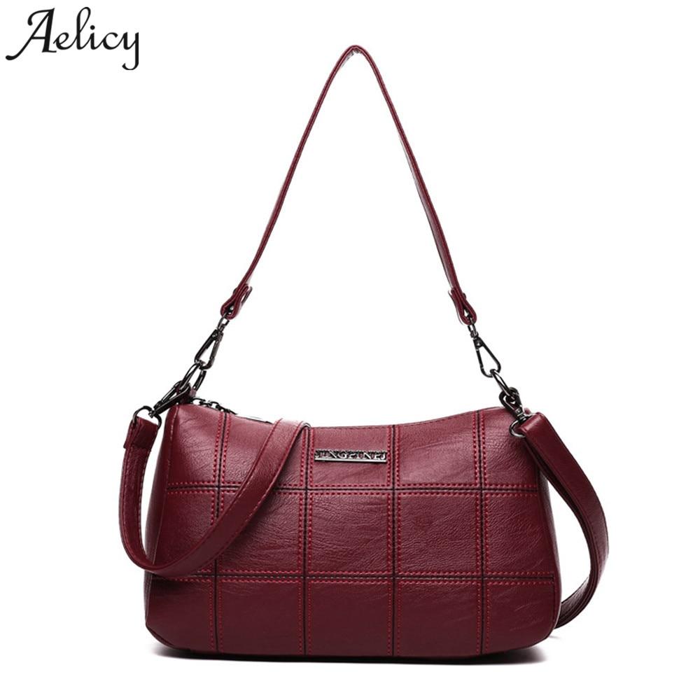 Aelicy Women PU Leather Plaid Messenger Bags Sac a Main Shoulder Bags Women Crossbody Bag Ladies