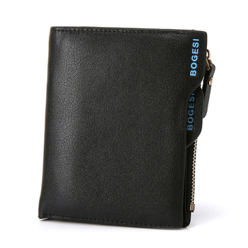 Bogesi Men Short Leather Solid Wallets Male Black Money Purses with Zipper 1