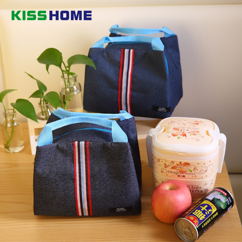 Fashion Storage Lunch Bags For Women Kid Men Striped Denim Cooler Aluminum Tote Insulation Bag Thermal Food