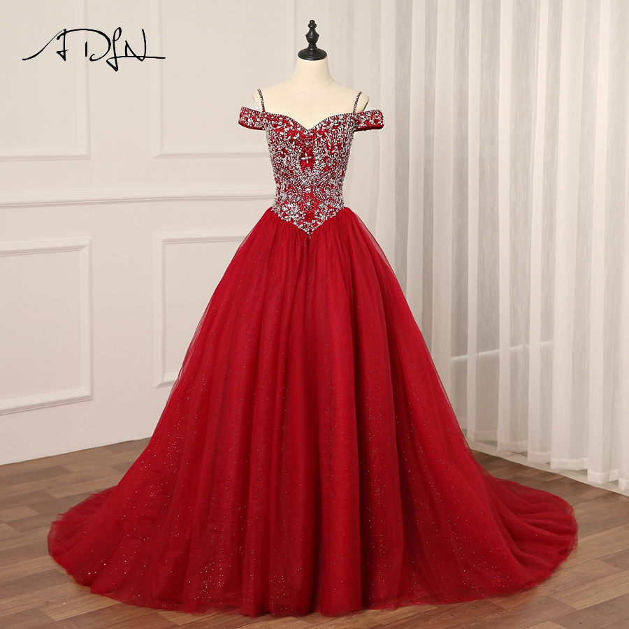 ADLN Real Burgundy Quinceanera Dress Luxury Off the Shoulder Tulle Ball Gown vestidos de 15 anos