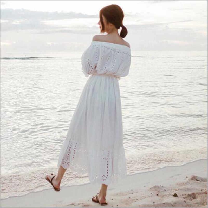 2018 Новое поступление Элегантная туника с открытым плечом белые вечерние платья женские летние модные открытые кружевные платья Befree Vestidos QV66