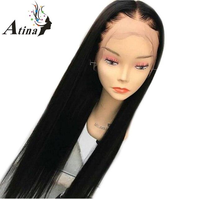 Pelucas de pelo humano frontal de encaje Pre desplumado con pelo de bebé pelucas frontales de encaje rectas de densidad 150% para mujeres Remy brasileño pelo Atina