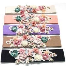 Fairy laço flor cinto de cintura para mulheres pérola elástica emagrecimento espartilho elástico europeu senhoras tecido verão vestido cintos largos 2018