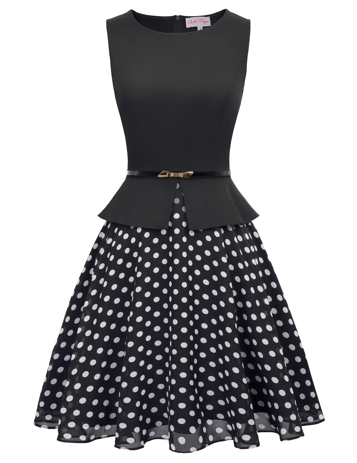 BP Retro Vintage Women Sleeveless Scoop Neck Polka Dots Patchwork A-Line Dress office ladies wear