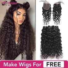 Funmi Unprocessed Virgin Water Wave Bundles with Closure Double Drawn Virgin Hair Brazilian Hair Weave Bundles with Closure(China)