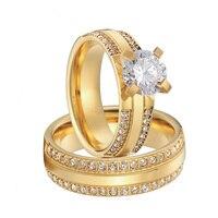 Роскошные Пользовательские фианит цвет золотистый Альянс titanium обручальное кольцо наборы для обувь для мужчин и женщин