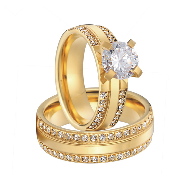 luxury custom cubic zirconia gold color alliance titanium wedding engagement ring sets for men and women