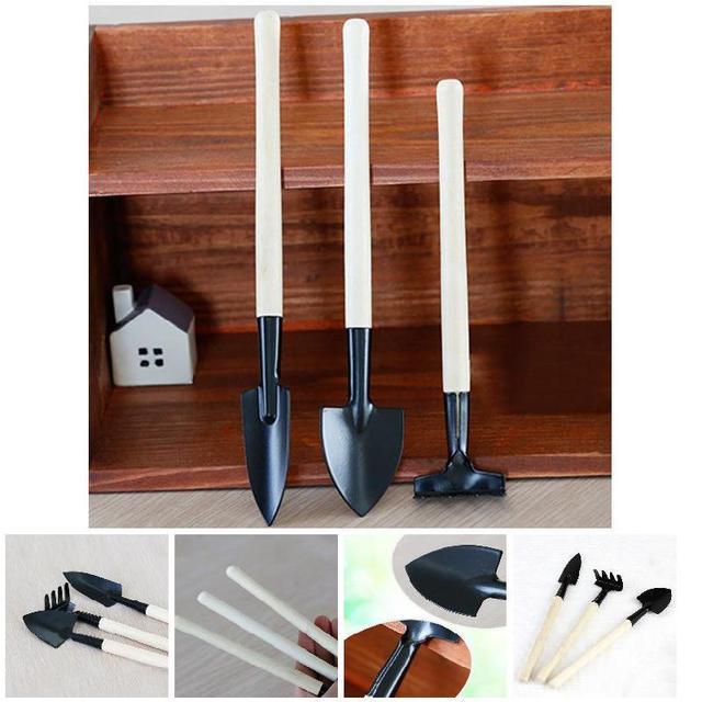Rastrello 3 pcs Mini Portatile di Giardinaggio Strumento di Metallo Testa Pala R