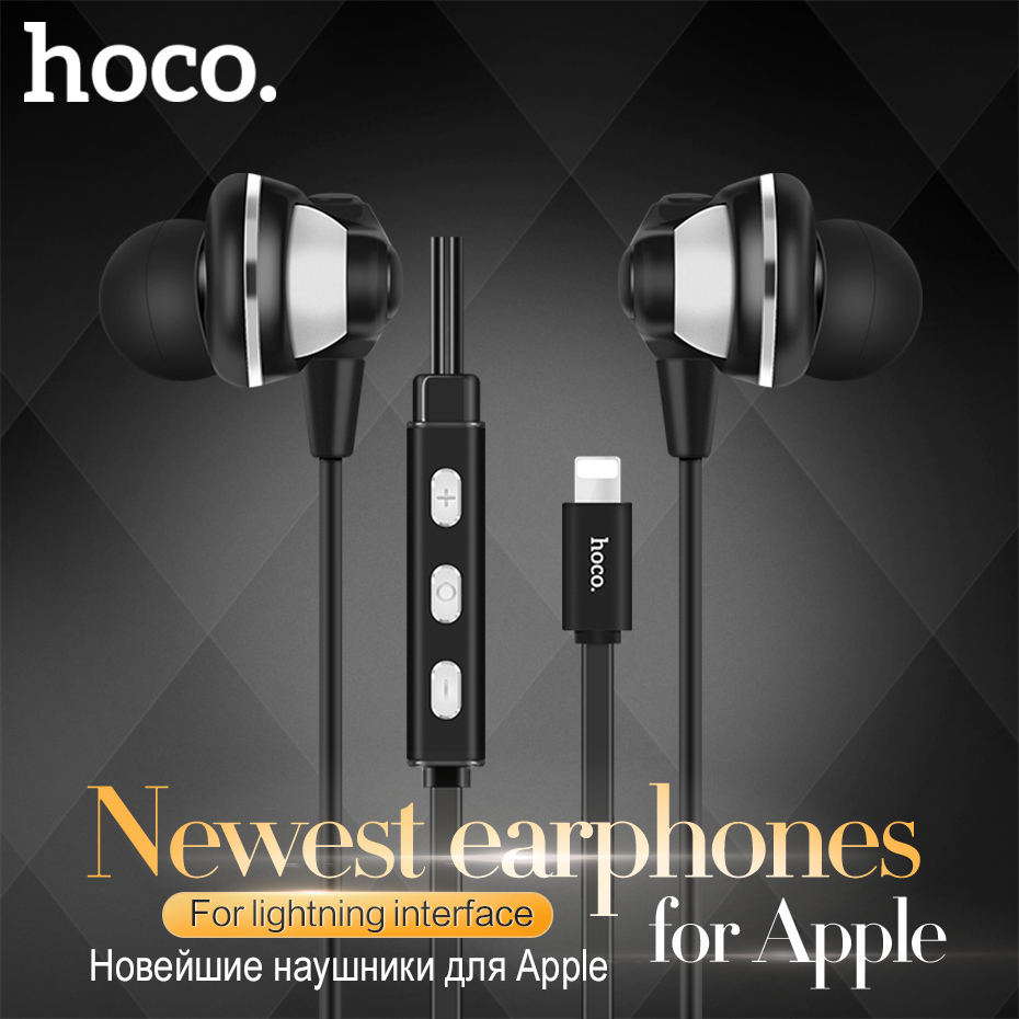 Original HOCO HiFi Earphone In-Ear Earbuds Earpiece Sport Running Headset For iPhone 7 For iOS for Apple Stereo Digital Earphone original senfer dt2 ie800 dynamic with 2ba hybrid drive in ear earphone ceramic hifi earphone earbuds with mmcx interface