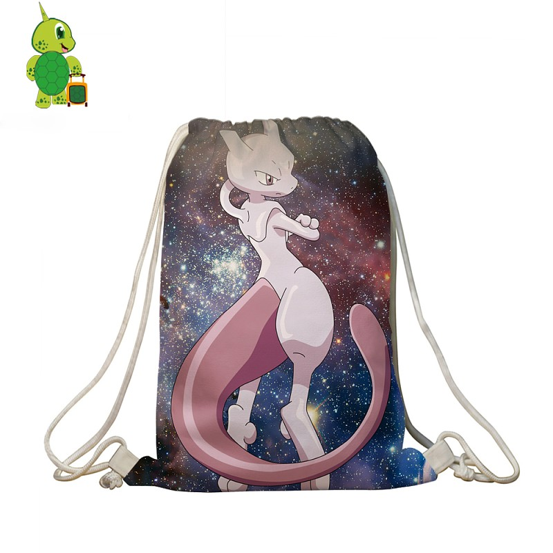 Galaxy Space Pokemon Mewtwo Drawstring Bag Women Men Travel Shoulder Bags Boys Girls Softback Book Bag Storage Shopping Bags
