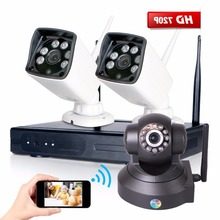2 UNIDS 4CH NVR 720 P IP66 impermeable Al Aire Libre de interior de Seguridad P2P NVR Wifi Wireless CCTV IP Cámara de Vigilancia doméstica sistema