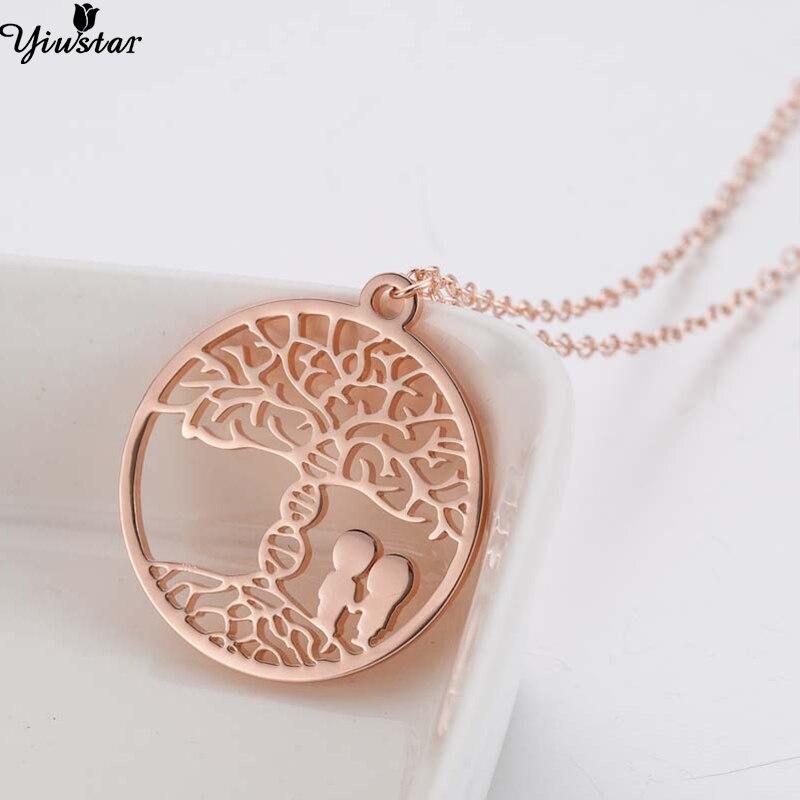 Yiustar Round Stainless Steel Tree of life Pendants Necklaces Women Jewellery Necklaces Round Choker joias feminina