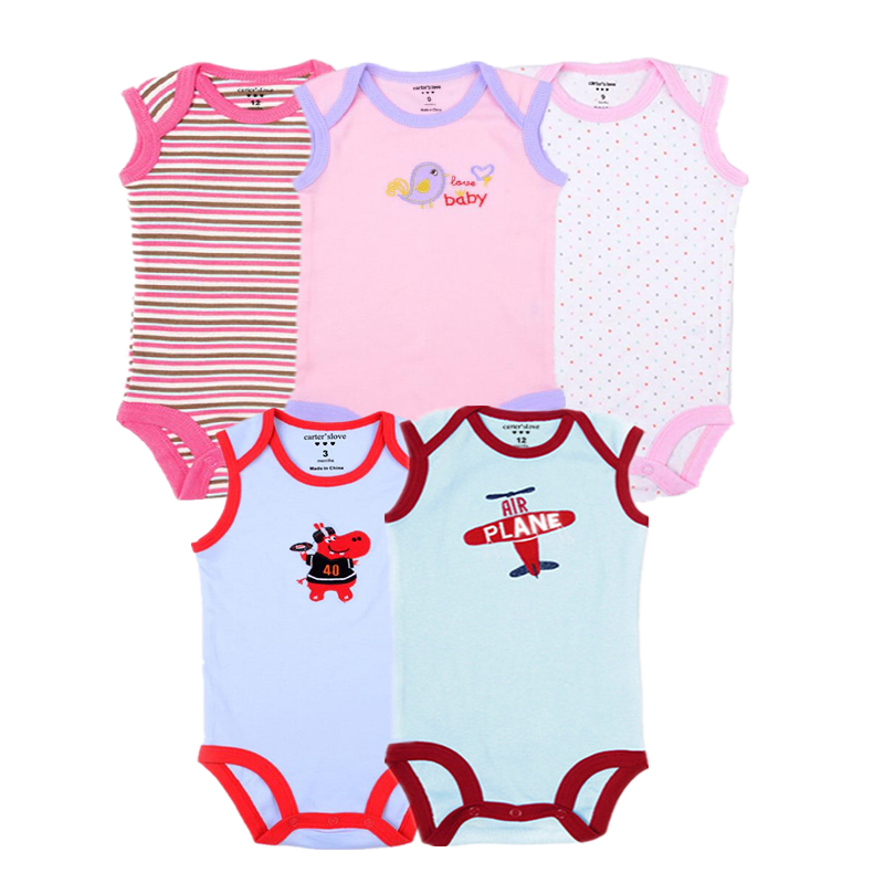 5pcs/lot Baby Girls Bodysuit 100% Cotton Infant Body Sleeveless Climbing Clothing Cartoon Printed Jumpsuits Baby Boys Bodysuits цена 2017