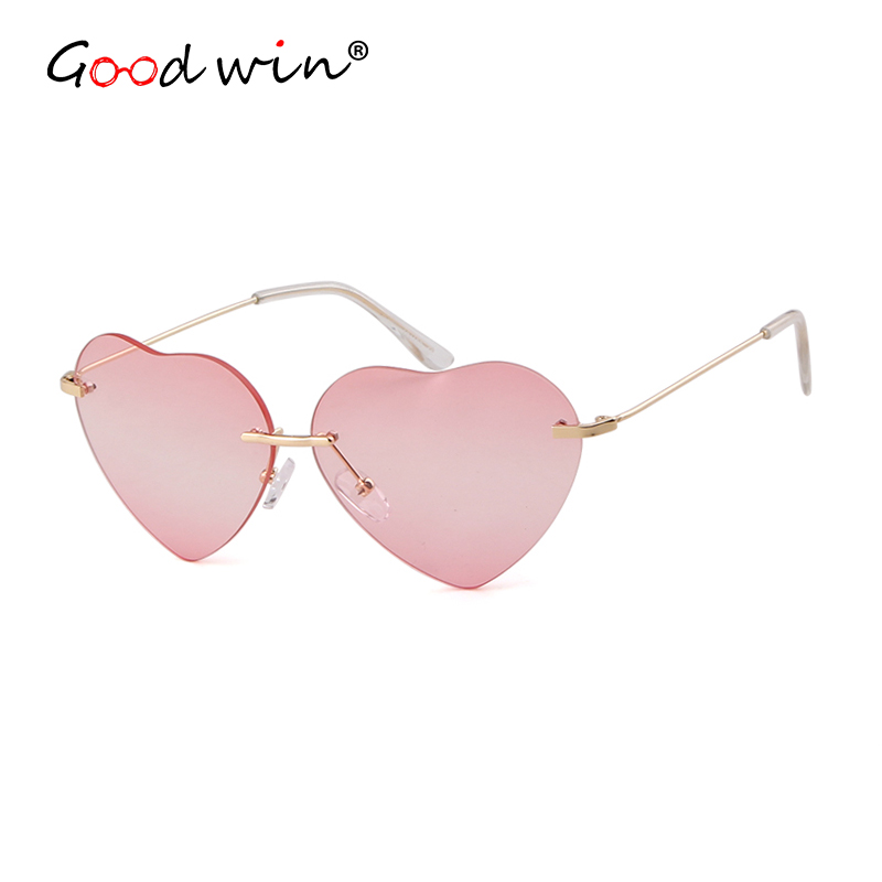 Good Win Fashion Heart Sunglasses Women Gradient Red Metal Women Heart Shaped Sunglasses Rimless Trend Female Glasses Gafas