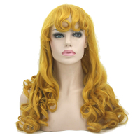Soowee Long Curly Synthetic Hair Yellow Golden Wigs Women S Party Hair Cosplay Wig Hairpiece