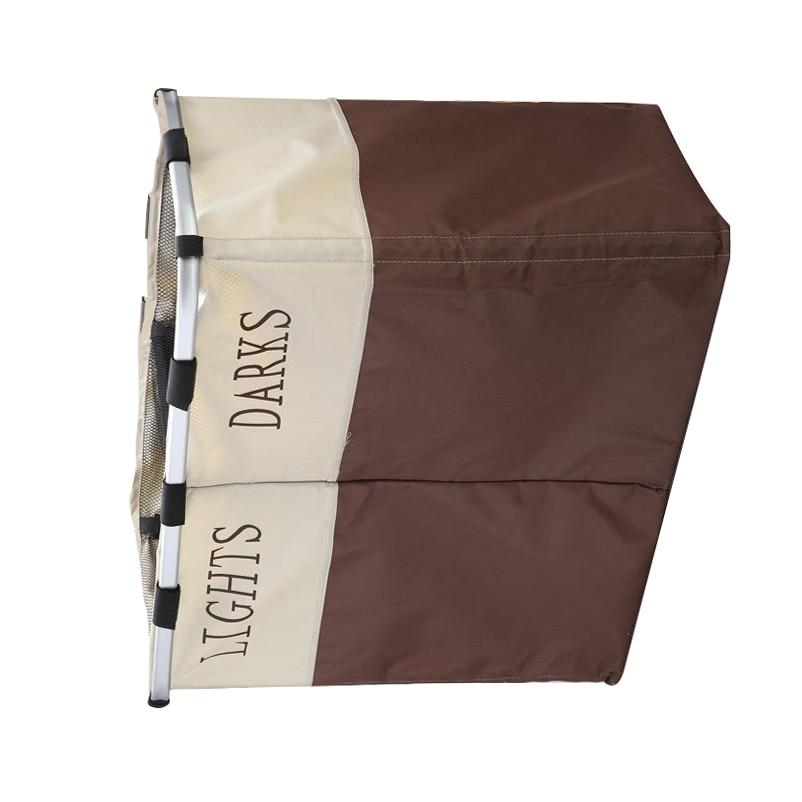 Popamazing 2 Sections Foldable Laundry Washing Clothes Basket Bin Storage Hamper