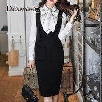 Dabuwawa Autumn Winter Suspender Knitted Skirt Female High Waist Pencil Skirts Knee Length Slim Skirts Saia Jupe #D17DRS012