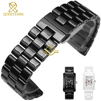 Pure Ceramic Watchband Bracelet 24mm White Black Watch Band Watch Strap Butterfly Buckle Wristband Belt Watch