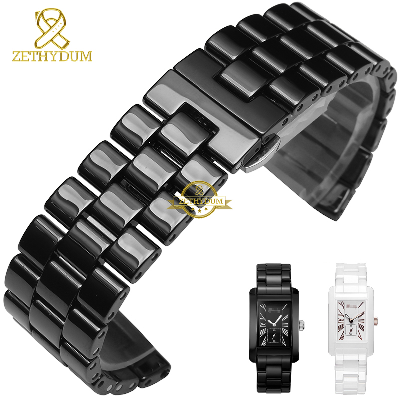 Pure Ceramic watchband bracelet  24mm white black watch band watch strap Butterfly Buckle wristband belt watch accessories for samsung gear s2 classic black white ceramic bracelet quality watchband 20mm butterfly clasp