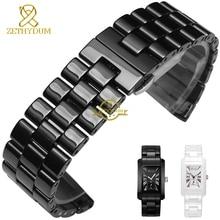 Чистый керамический ремешок для часов браслет 24 мм белый черный часы полоса ремешок бабочка пряжка браслет часы аксессуары пояса