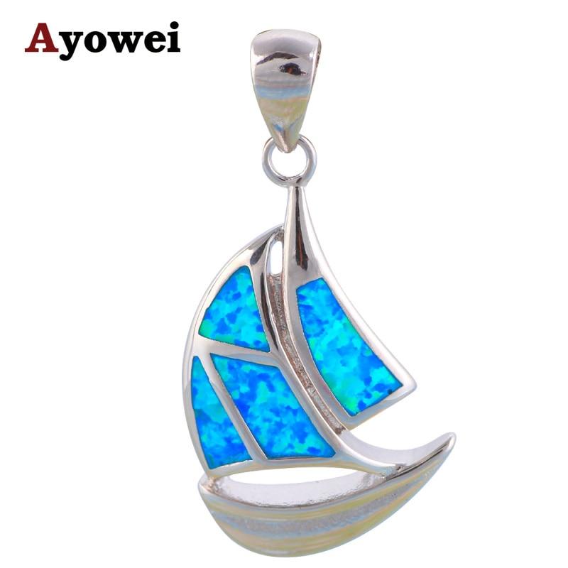 ae41ea0e01d3 Hotselling special design gros au détail bleu opale de feu embouti argent  mode bijoux dames collier pendentifs op562